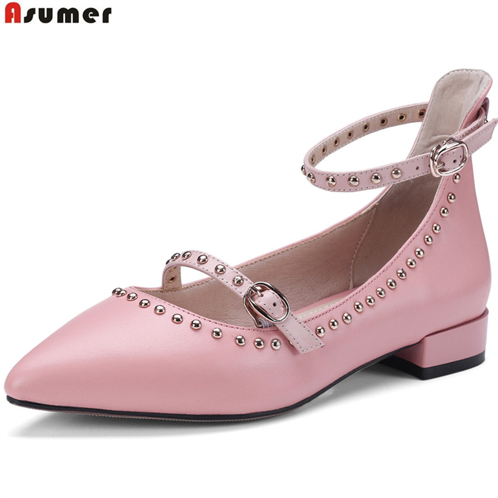 Asumer black pink fashion spring autumn women pumps pointed toe buckle square heel genuine leather shoes low heels shoes asumer beige pink fashion spring autumn shoes woman square toe casual single shoes square heel women high heels shoes
