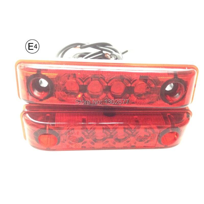 E-marked светодиодный фонарь заднего положения, светодиодный Защитная лампа, излучающий красный свет, PMMA красный объектив, DC12V