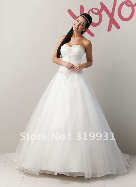 Fashion Sweetheart Ball Gown Chapel Train Beaded Organza Wedding Dress WE258 Free Shipping