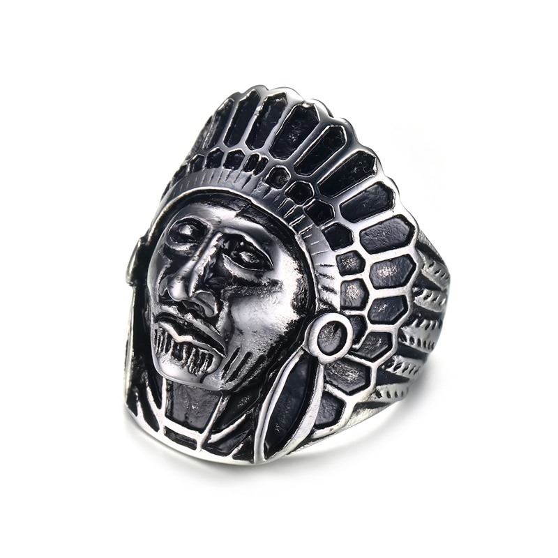 tribal style exotic indian head figer ring men exaggerated stainless steel jewelry punk men bague homme bijoux birthday gift - Exotic Wedding Rings