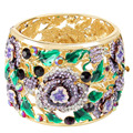 BELLA 2015 Gold Plated Enamel Purple Elegant Flower Wedding Cuff Bangle Austrian Crystal Bangle For Women For Valentine Gift