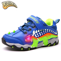 Dinoskulls Children Glowing Sneakers Boy Sports Light Up Shoes Kid Led Shoes Dinosaur Sneakers Trainers Boys Shoes 27 34