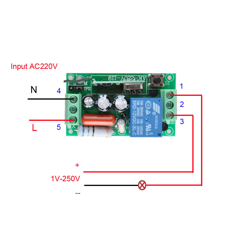 Image 2 - Wireless Remote Control Light Switch 10A Relay Output Radio 220V 1 Channel Receiver Module + 50 500M Transmitter-in Switches from Lights & Lighting