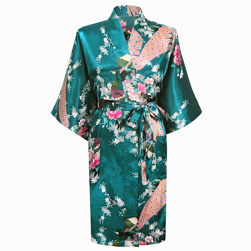 Dark green Fashion Womens Peacock Kimono Bath Robe Nightgown Gown Yukata Bathrobe Sleepwear With Belt S M L XL XXL XXXL KQ-11