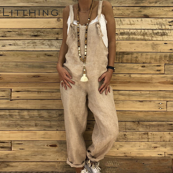 LITTHING Rompers Women Jumpsuits Cotton Linen Female Overall Dungarees Casual Harem Pants Loose Long Playsuit Jumpsuit Plus Size