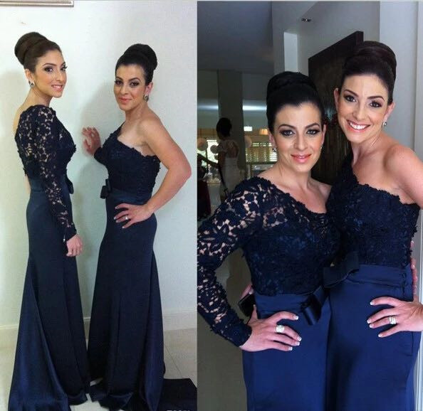Navy Blue One Shoulder Long Sleeve Lace Mermaid Bridesmaid Dresses 2019 Lady Wedding Party Gown Prom Dress