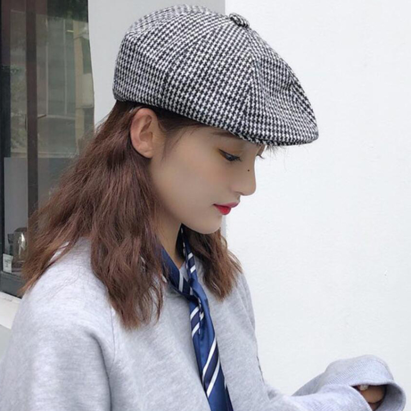 HT2552 Beret Cap Vintage Plaid Men Women Berets Spring Autumn Newsboy Ivy Flat Retro Artist Painter Octagonal Hat