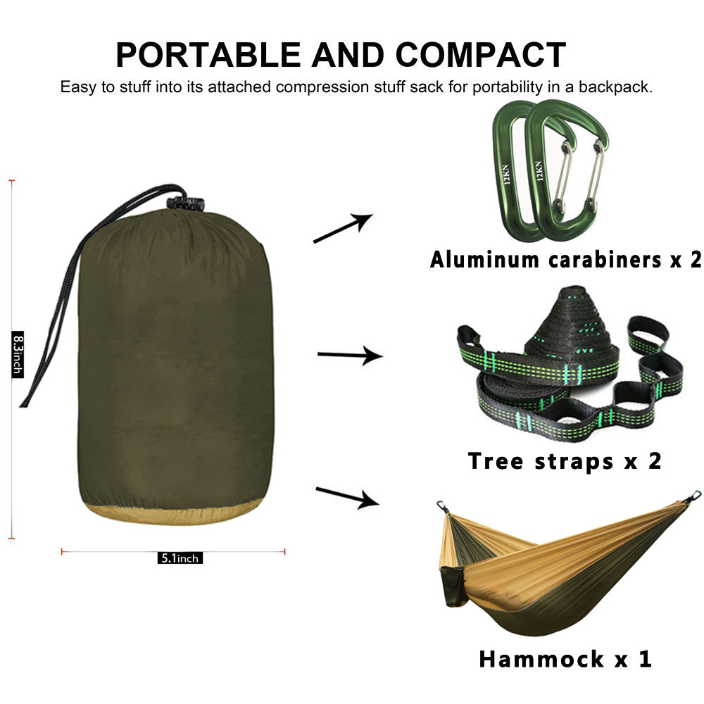 Image 3 - Dropshipping Parachute Nylon Hammock,Outdoor Camping Hammocks Double Person Portable Swing Hammock-in Hammocks from Furniture