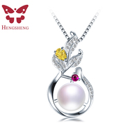HENGSHENG Trendy Leaves Created Red Ruby Pendant Anniversary 925 Sterling Silver For Women Fine Jewelry with Natural Pearls