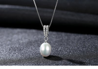 S925 Necklace with Zircon Pearl Pendant Simple Women's Accessories LSG10