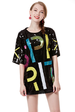 plus size women t shirt  Sequined loose school girl letter printed color Striped short-sleeved black T-shirt