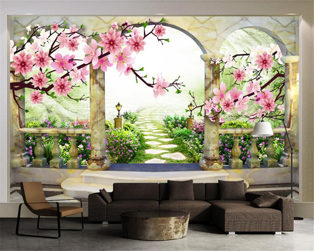 Beibehang 3D Wallpaper Peach Blossom Landscape European Garden Backdrop Living Room Bedroom TV Mural wallpaper for walls 3 d beibehang four color stitching 3d wallpaper 3d lattice mosaic backdrop wallpaper bedroom living room wallpaper for walls 3 d