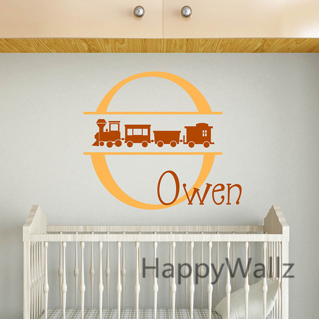 Baby Nursery Train Wall Stickers Diy Custom Name Decals Kids Room Children Decor