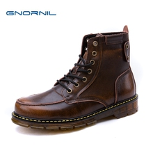 GNORNIL Winter Men Boots Genuine Leather Black Luxury New Fashion Cow Leather Martin Boots Men Shoes Male Brown Bota Masculina z suo winter yellow boots men genuine leather luxury brand cow leather ankle boots mens work boots brown bota masculina 16011xz