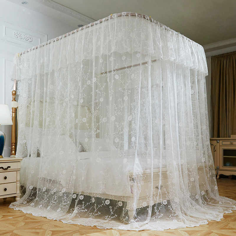 White Luxury U type Palace Style Guide Rail Three Open Door Mosquito Net Stainless Steel Mosquito Frame Bed Valance Bedding Set