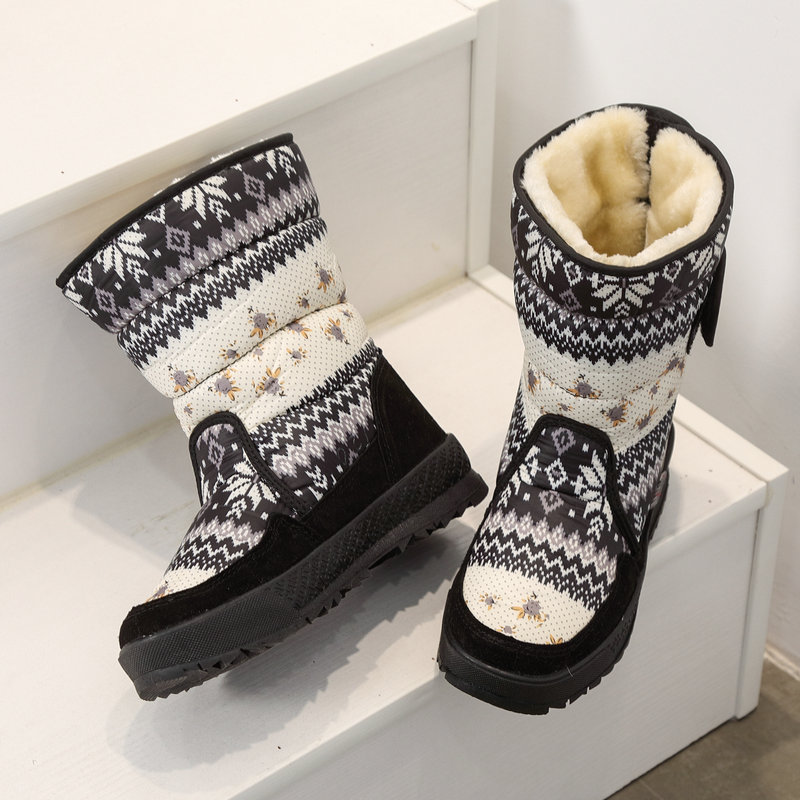 Image 5 - Printing nice winter warm shoes snowboot non slip Rubber outsole snowflake nice looking big plus size free shipping black flower-in Knee-High Boots from Shoes