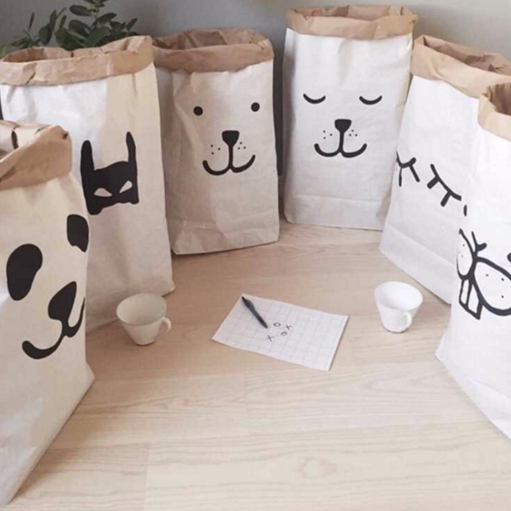 INS Fashion Eco-vriendelijke zware Kraft papieren zak kinderkamer - Home opslag en organisatie - Foto 2