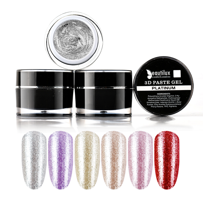 Beautilux 1pc Rose Gold Silver Platinum 3D Carving Gel Paste No Sticky Layer Nail Art Design Gel Lacquer 10ml