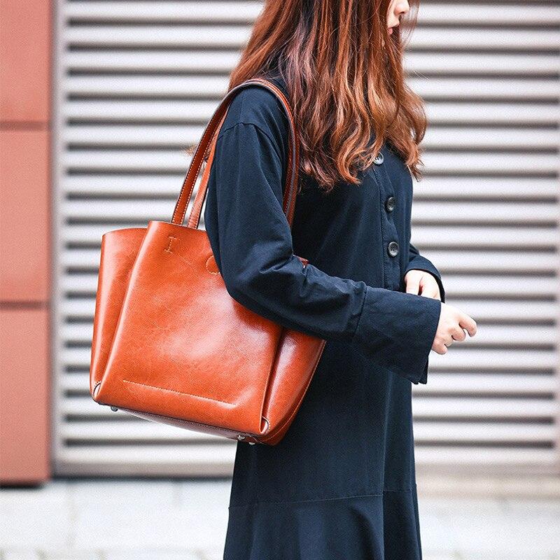 DIENQI haute qualité doux en cuir véritable femme sacs à bandoulière grande capacité Designer femmes en cuir sacs à main dames fourre-tout sacs à main - 2