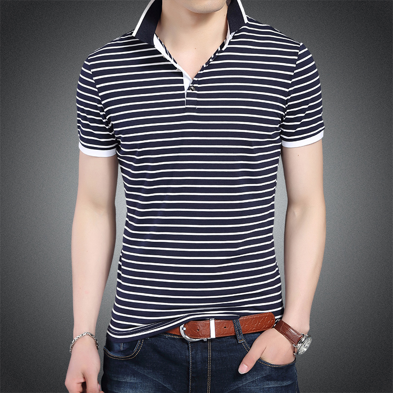 2019 New Fashion Brands   Polo   Shirt Men Striped Summer Slim Fit Short Sleeve Boyfriend Gift Breathable Poloshirt Casual Clothes