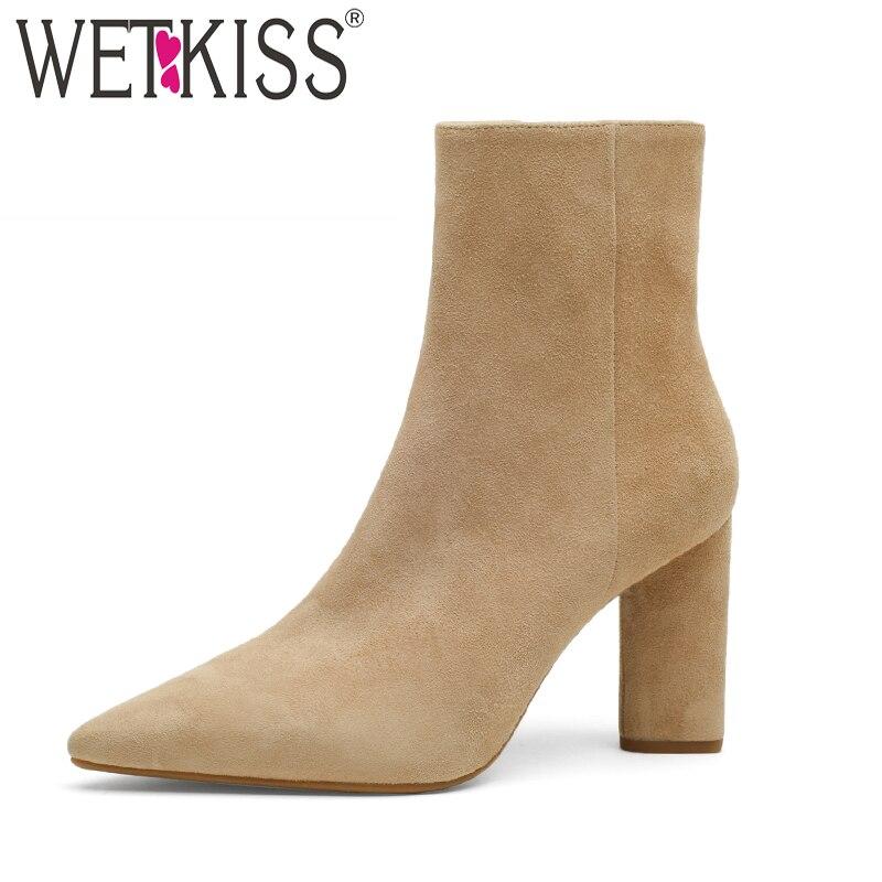 Wetkiss 키즈 스웨이드 여성 발목 부츠 지적 발가락 지퍼 신발 하이힐 여성 부팅 파티 신발 여성 겨울 2018 뉴 블랙-에서앵클 부츠부터 신발 의  그룹 1
