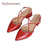 Stylesowner Sweet Retro Style Slingback Mary Janes Women Pumps Cross Tied Pointed Toe Chunky Med Heel