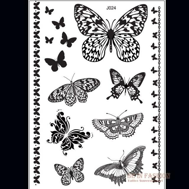 1 Piece Indien Arabe Noir Blanc Papillon Tatouages Dentelle Flash