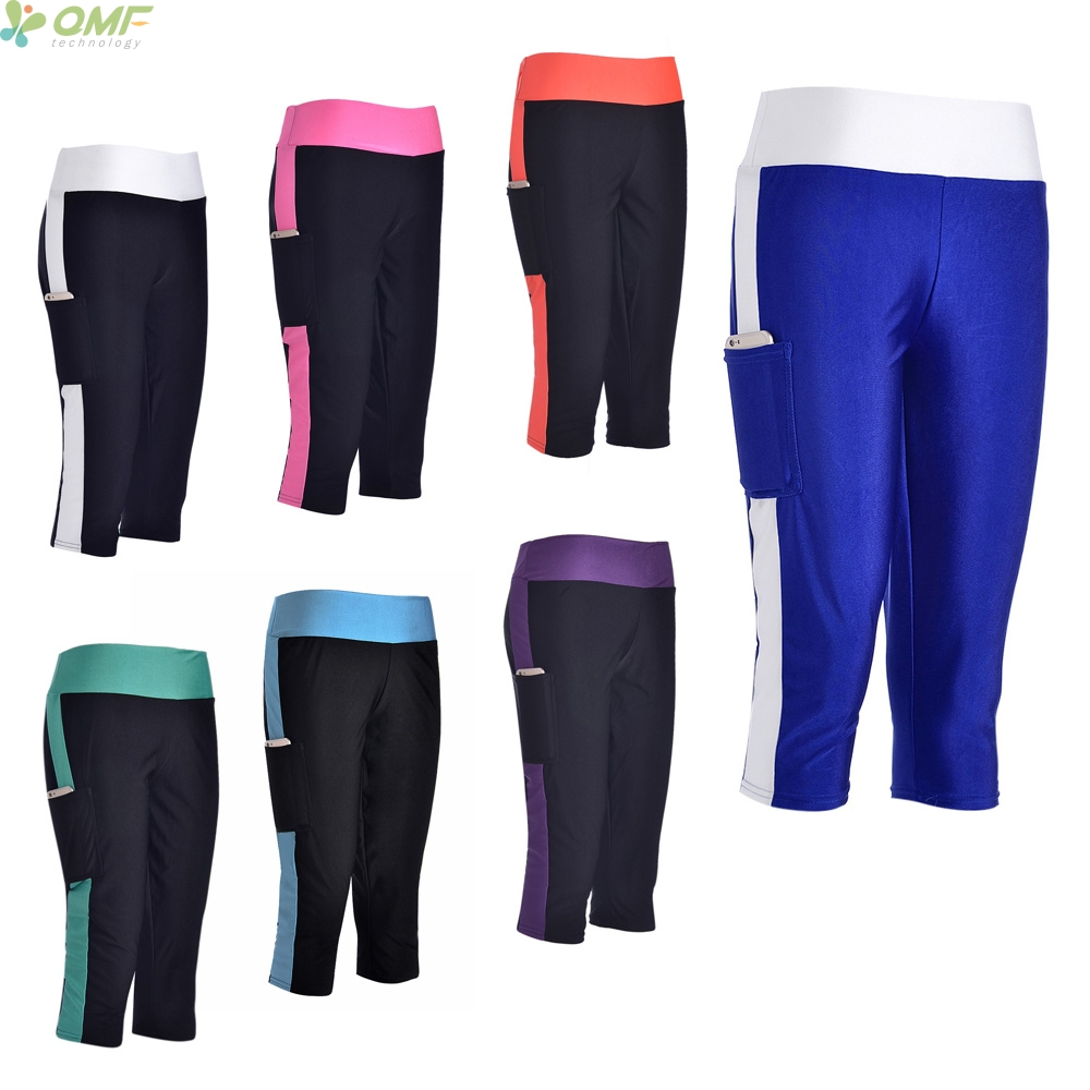 540c0b9eb3f1c0 Womens Capris Leggings Blue Fashion Workout Pants Black Foldover Fitness  Crop Trousers With Pocket Compression 3/4 Length Newest