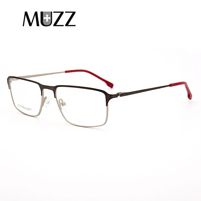 MUZZ optique lunettes cadre hommes nouveau carré myopie oeil verre Prescription lunettes de haute qualité sans vis lunettes cadre