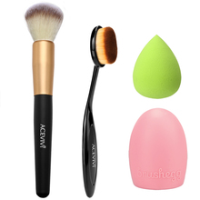 ACEVIVI Cosmetic Tool Makeup Brush Set Beauty Face Powder/ Oval Blush Brush + Puff Sponge + Makeup Brush Cleaner U2