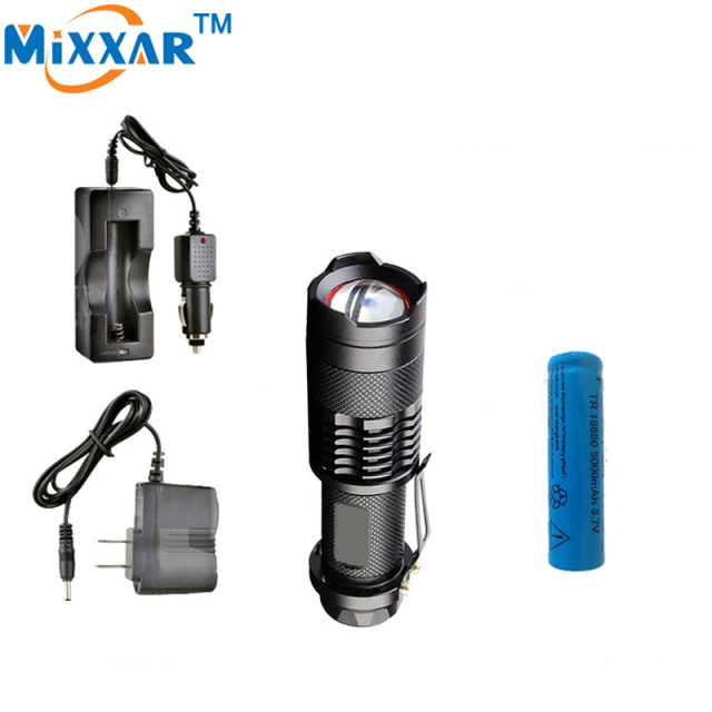 zk50 CREE XM-L2 3500LM led Flashlights Waterproof 5-modes lantern tactical led Torch With one 18650 5000mAh Battery and chargers