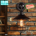 American vintage wrought iron wall lamp fashion brief individuality bedside balcony lamp