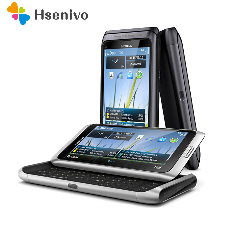 E7 Original débloqué Nokia E7 téléphone Mobile 4.0 pouces caméra 8.0MP GPS WIFI 16 GB stockage Nokia téléphone intelligent livraison gratuite