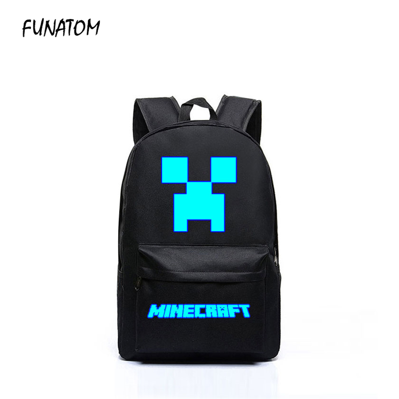 2018 Minecraft Backpacks Canvas Bts High Quality Backpack Children School Boys and Girls Back To School Glowing Bags minecraft backpack factory directly children schoolbag boy girls canvas zip green creeper backpacks page 2