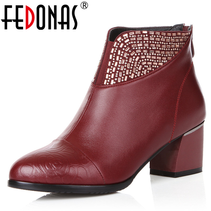 FEDONAS 1New Women Ankle Boots Autumn Winter Warm High Heels Shoes Woman Genuine Leather Round Toe Elegant Party Dancing Boots fedonas 1new women mid calf boots autumn winter warm high heels shoes woman pointed toe elegant bling party prom dancing pumps