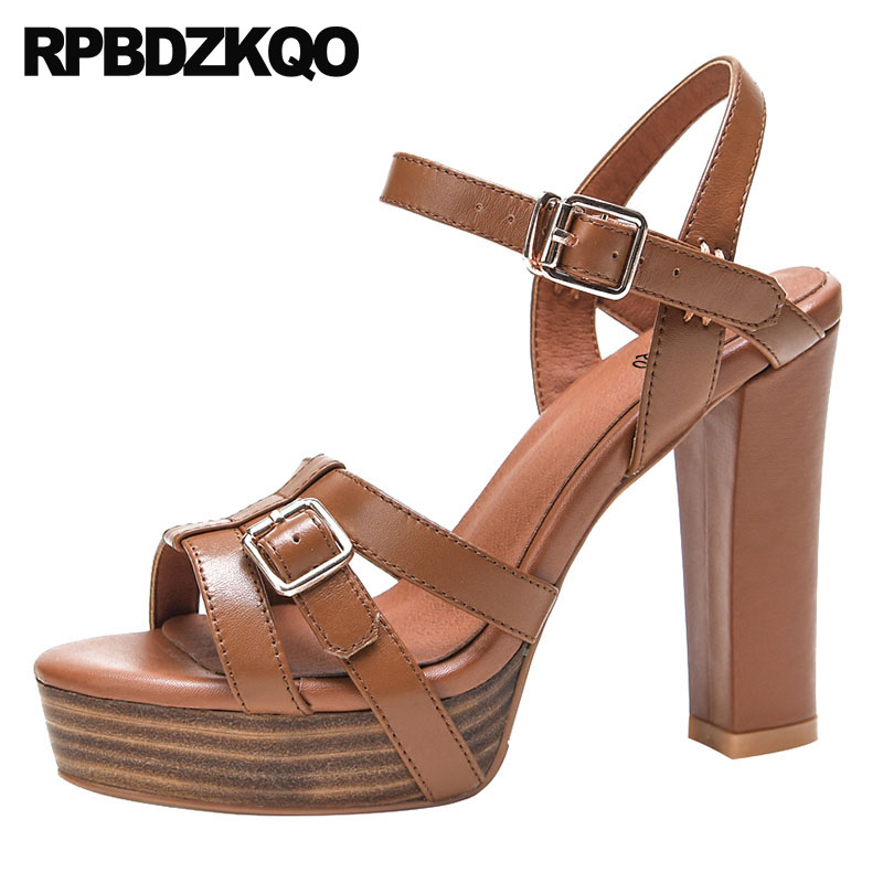 High Heels Women Strap Vintage Gladiator Sandals Thick Platform Shoes Extreme Luxury Genuine Leather Strappy Pumps Brown Chunky women chic champagne patent leather sandals square thick high heels pumps covered heel single strap gladiator shoes golden pumps