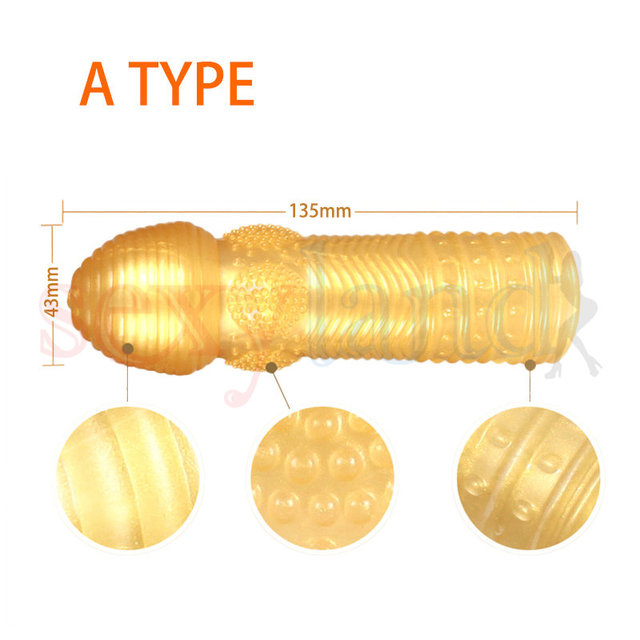 Golden Jihad Crystal Penis Sleeves Stretchy Time Delay Cock Rings Condoms for Men, Adult Erotic Sex Toys for Couple