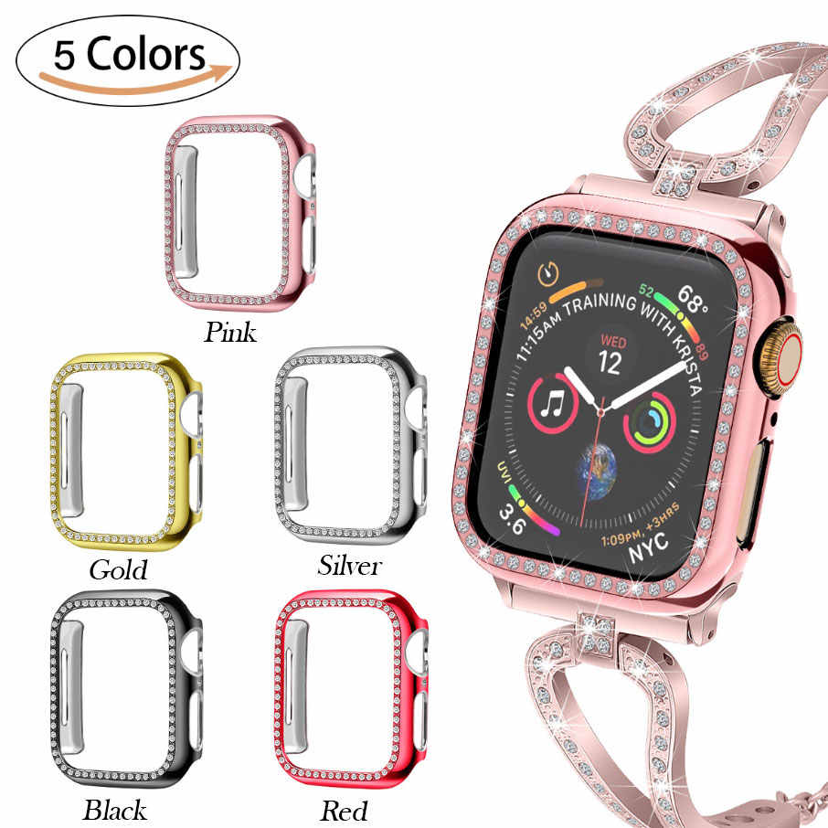 Crystal Bumper Protector Cover For Apple Watch 38mm 44mm Diamond PC Plated Watch Case For iWatch Series 4/3/2/1 40mm 42mm