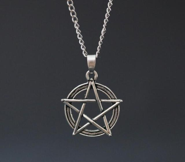 Aliexpress buy 1pcs chain necklace pentagram pendant ancient 1pcs chain necklace pentagram pendant ancient silver pentacle wiccan pagan charm vintage fashion jewelry gift aloadofball Images
