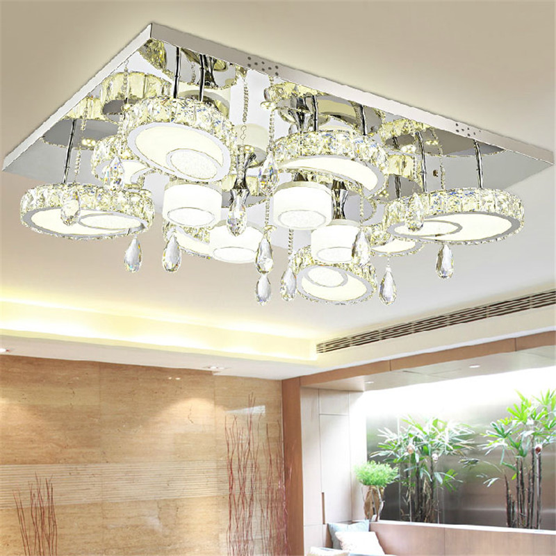 Modern Led Flush Mount Rectangular Crystal Ceiling Lights Fixture for Bedroom Led Wireless