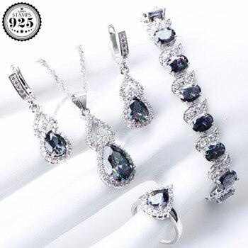 18109306f32c Arco Iris Natural conjuntos de joyas de plata de ley 925 piedras de plata  pendientes de boda para las mujeres pulsera de piedras collar de anillos  Caja de ...