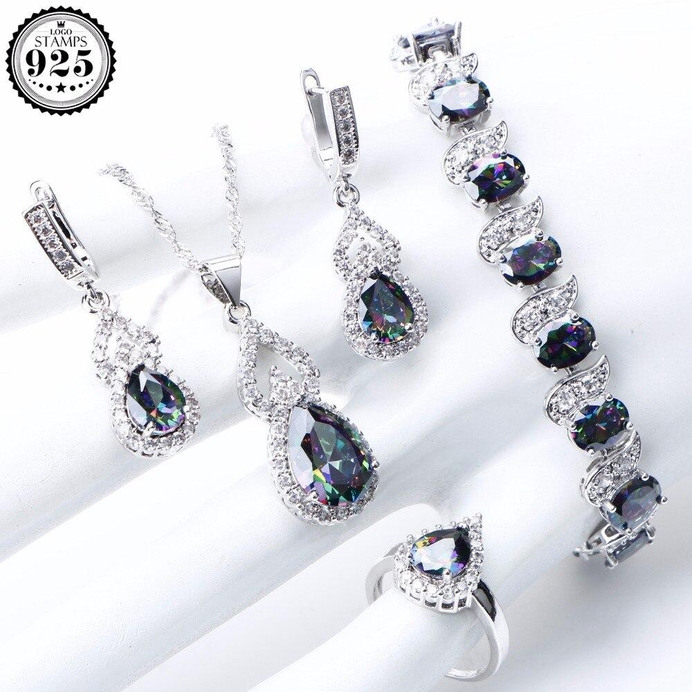 Natürliche Regenbogen Schmuck Sets 925 Sterling Silber Steine Hochzeit Ohrringe Für Frauen Steine Armband Halskette Ringe Set Geschenke Box