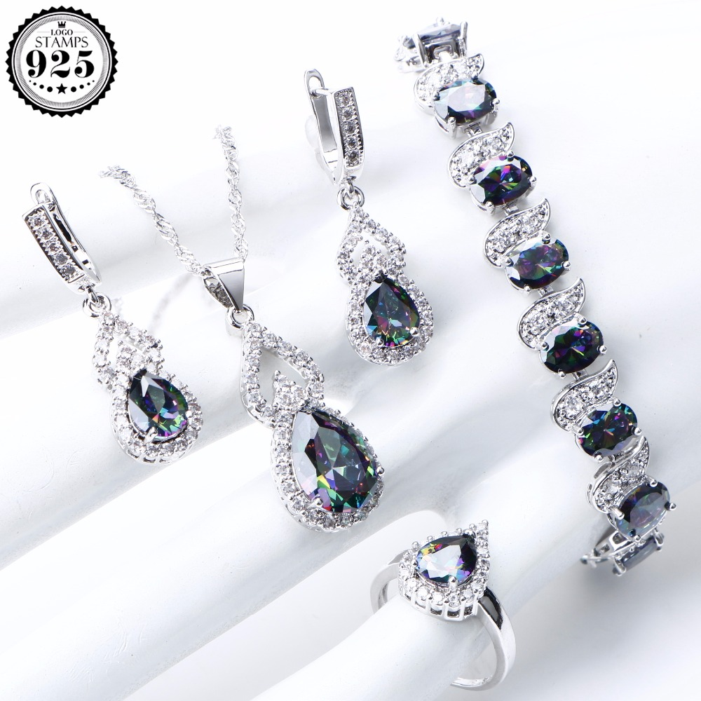 Natural Rainbow Jewelry Sets 925 Sterling Silver Stones Wedding Earrings Stones Bracelet Necklace Rings Set Gifts Box