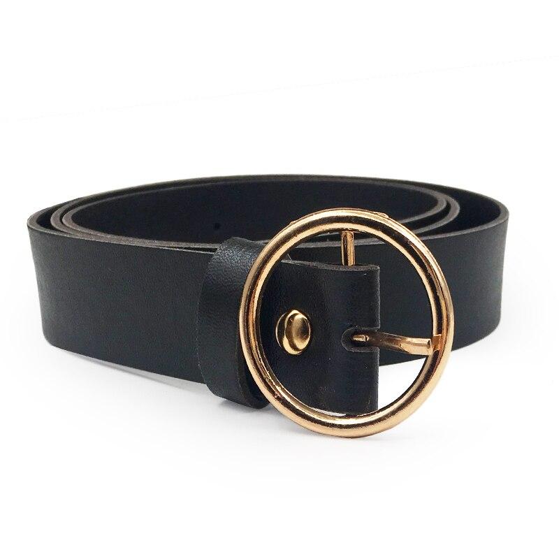 Женский пояс на талию, милое женское большое кольцо, декорированные ремни для женщин,, новейший дизайн, Модная Золотая пряжка, Одноцветный ремень из искусственной кожи - Цвет: BlackGold