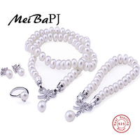 Natural Cultured Freshwater Pearl Jewelry Sets Long Necklace And Bracelet Fine Jewelry