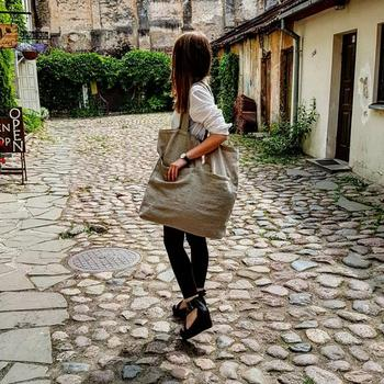 Large ECO Fashion Durable Women Student Cotton Linen Single Shoulder Bag Shopping Tote Flax Canvas Shopping Bags 4