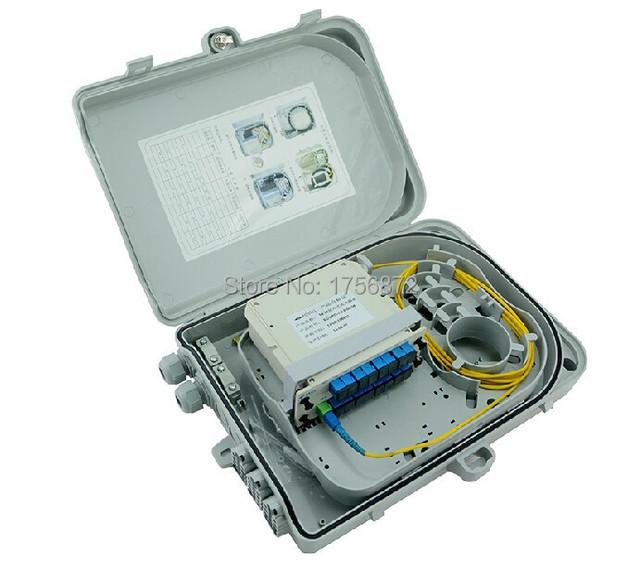 16 puertos FTTH Caja de Terminales De Fibra Óptica 1X16 Núcleo ABS caja de distribución Caja de Distribución de Fibra Óptica FTTH Al Aire Libre