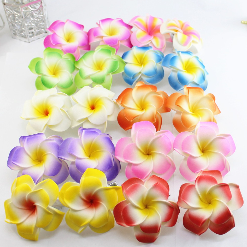 2017 popular brand new 50 large assorted color double layer foam 2017 popular brand new 50 large assorted color double layer foam hawaiian plumeria flower frangipani flower bridal hair clip 6cm on aliexpress alibaba izmirmasajfo Choice Image