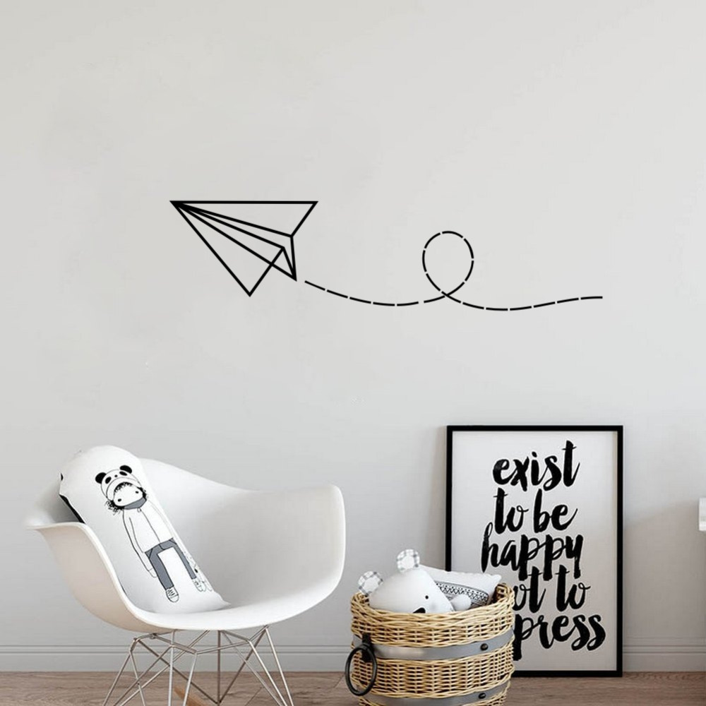 Paper Airplane Pattern Vinyl Wall Decals Home Decor Stickers Kids Bedroom Background Wall Decoration image