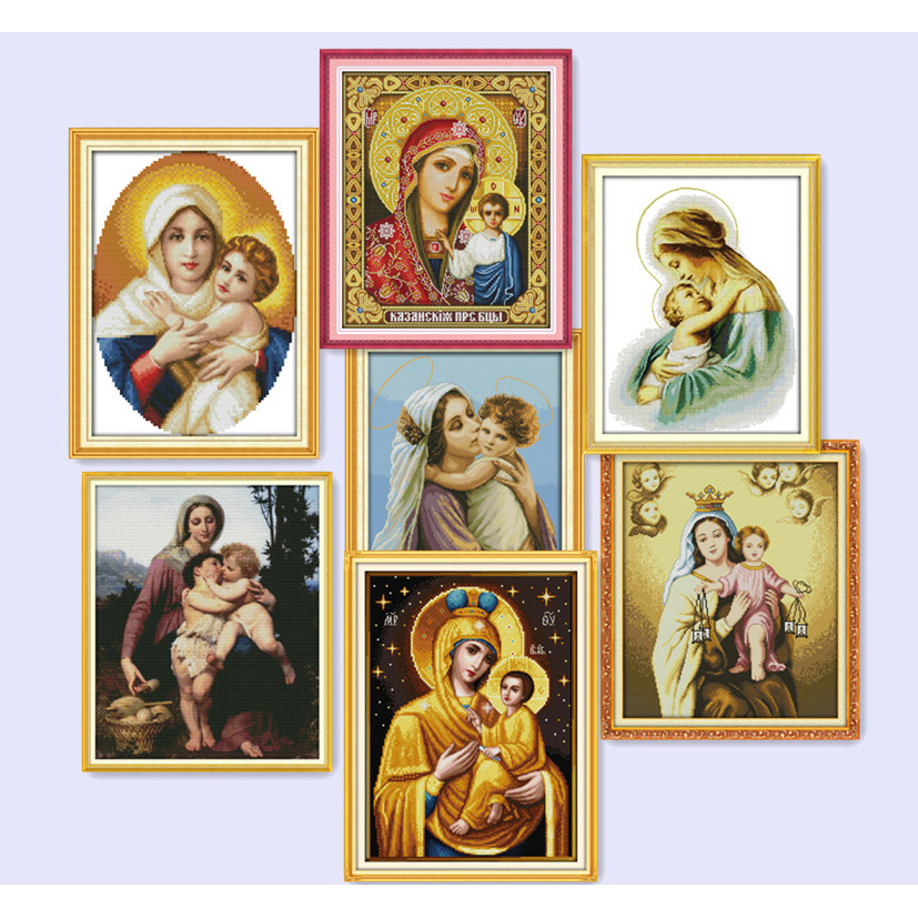 Everlasting love all kinds of Holy mother holy son cotton Cross Stitch 11 14CT Printed DIY gift new year decorations for home in Package from Home Garden
